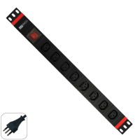"""19"""" PDU -8  IEC  (VDE) sockets  with on-off switch"""